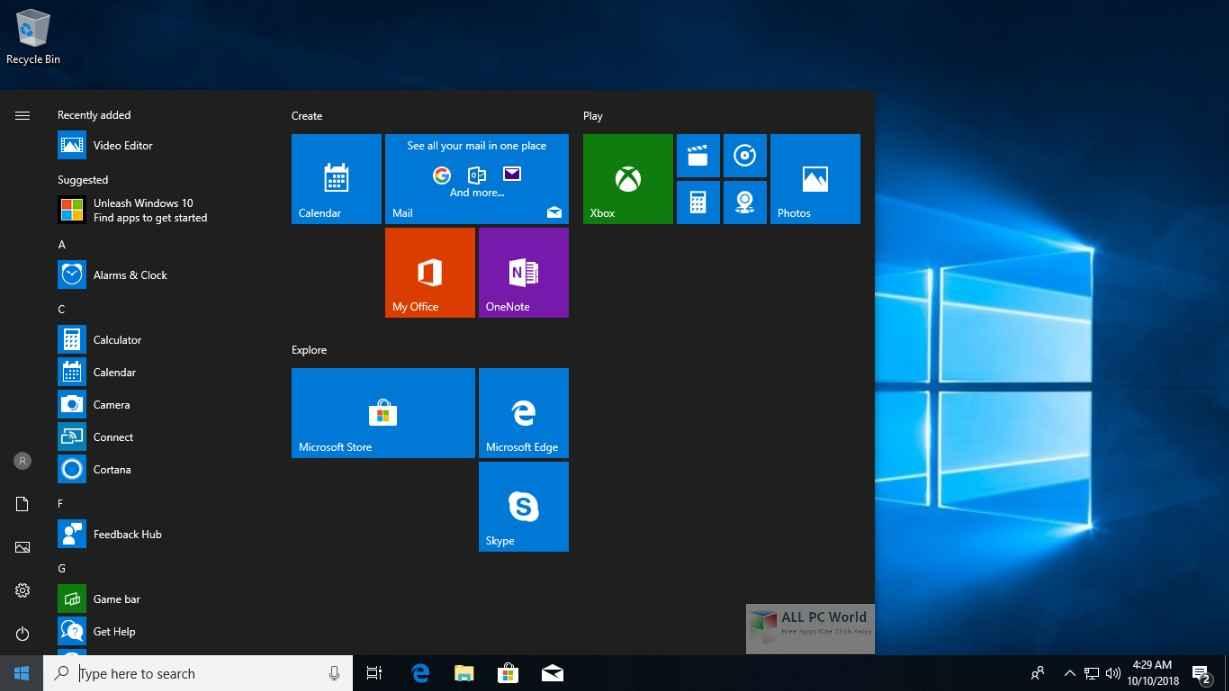 Windows 10 Pro Nisan 2019 Formatlık